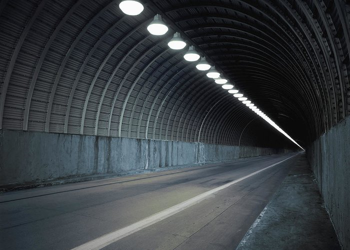 Empty Greeting Card featuring the photograph Empty Tunnel With Lights Digital by Ed Freeman