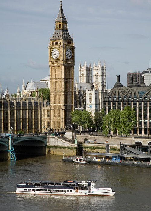 England Greeting Card featuring the photograph England, London, Big Ben And Thames by Jerry Driendl