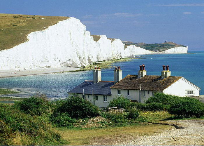 Scenics Greeting Card featuring the photograph England, Sussex, Seven Sisters Cliffs by David C Tomlinson