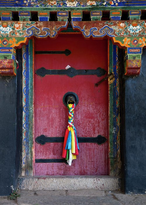 Chinese Culture Greeting Card featuring the photograph Entrance To The Tibetan Monastery by Hanhanpeggy