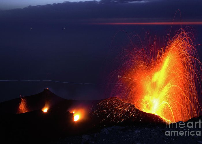 Non-urban Scene Greeting Card featuring the photograph Eruption Of Stromboli Volcano, Italy by Francesco Sartori
