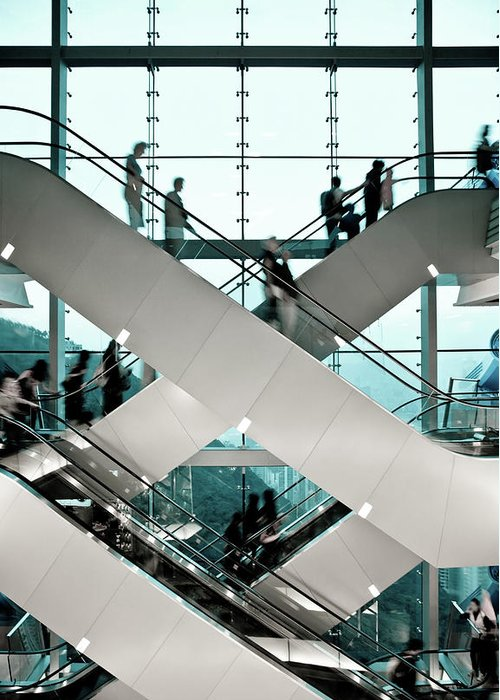 People Greeting Card featuring the photograph Escalator by Ymgerman