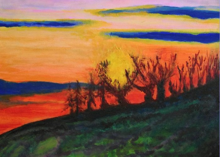 Trees Greeting Card featuring the painting Evening Tide by Caroline Cunningham