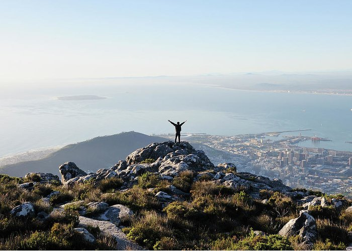 Scenics Greeting Card featuring the photograph Exuberant Man On Top Of Table Mountain by David Malan