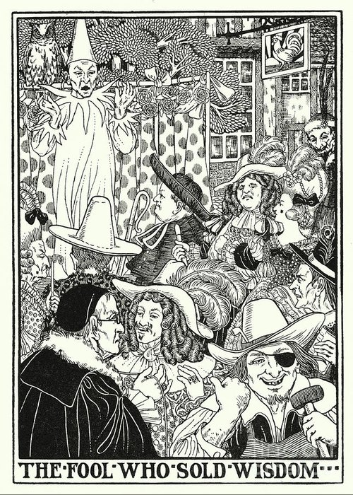 Border Greeting Card featuring the painting Fables Of La Fontaine, The Fool Who Sold Wisdom by Percy James Billinghurst