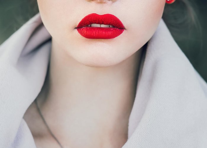 Makeup Greeting Card featuring the photograph Face Of A Beautiful Girl With Red Lips by Aleshyn andrei