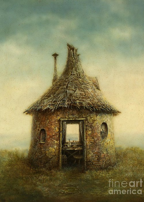 Small Greeting Card featuring the digital art Fairy Tale House, Painted With Acrylic by Slava Gerj