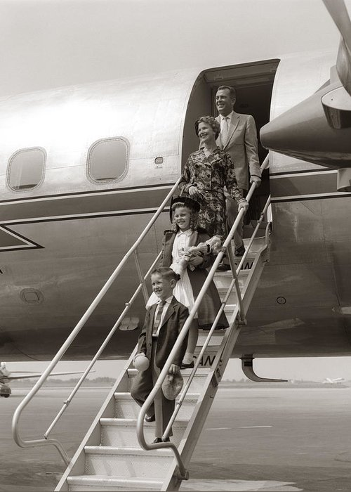 Steps Greeting Card featuring the photograph Family Walking Down Airplane Stairs by H. Armstrong Roberts
