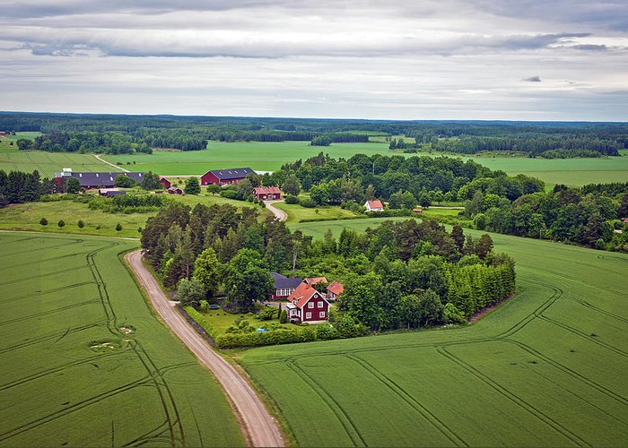 Scenics Greeting Card featuring the photograph Farms And Fields In Sweden North Europe by Pavliha