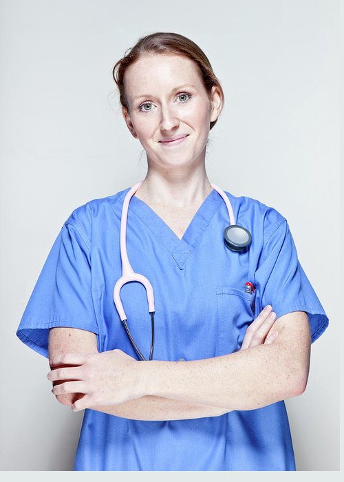 People Greeting Card featuring the photograph Female Doctor by James Whitaker