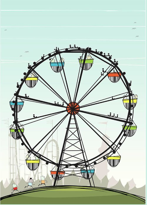 Grass Greeting Card featuring the digital art Ferris Wheel by Jcgwakefield