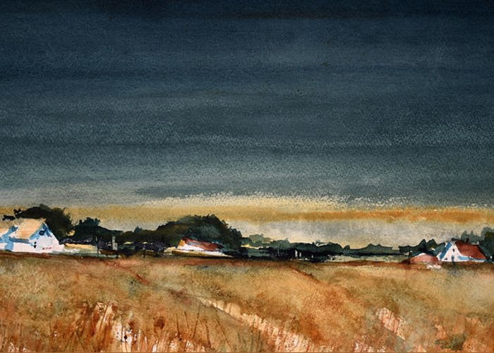 Rural Greeting Card featuring the painting Fields of Grain by Charles Rowland