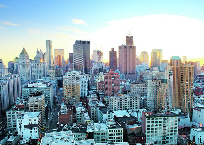 Tranquility Greeting Card featuring the photograph Financial District by Tony Shi Photography