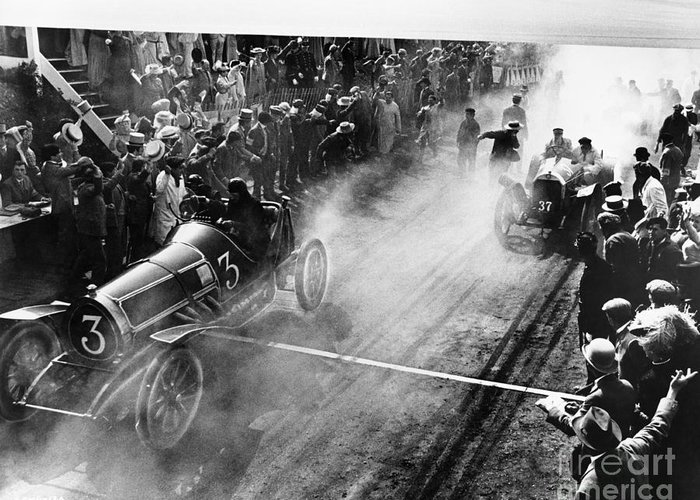 Streets Greeting Card featuring the photograph Finish Line At Auto Race by Everett Collection