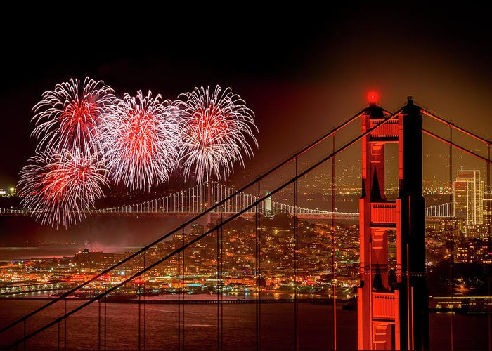 San Francisco Greeting Card featuring the photograph Firework At San Francisco, California by Spondylolithesis