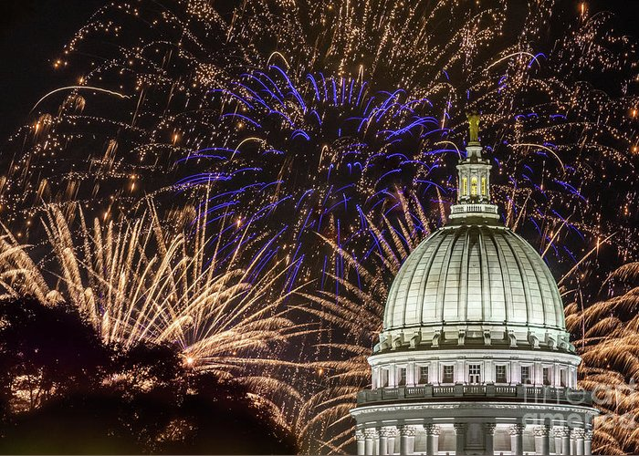 Wisconsin Capitol Greeting Card featuring the photograph Fireworks At The Capitol by Amfmgirl Photography