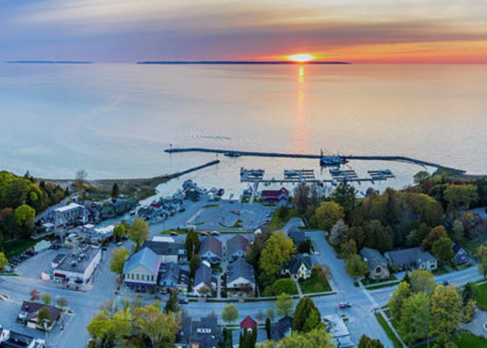 Leland Greeting Card featuring the photograph Fishtown Sunset Panorama Aerial by Twenty Two North Photography