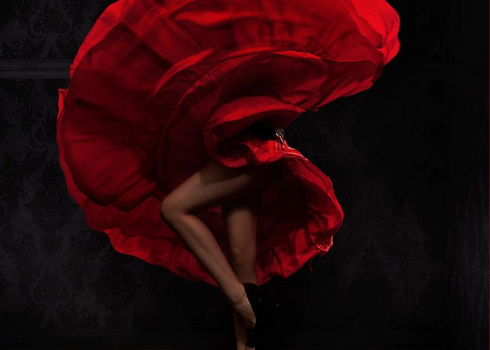 Dress Greeting Card featuring the photograph Flamenco Dancer by Conrado