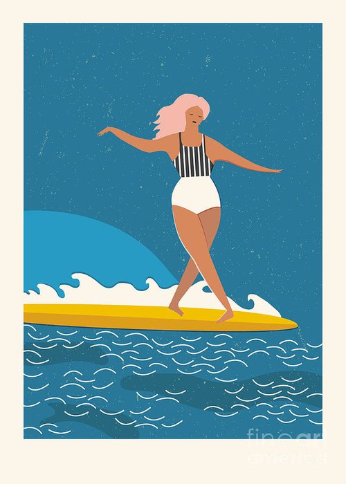 Surfer Girl Greeting Cards