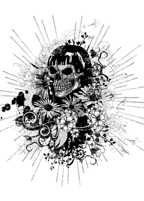 Goth Greeting Card featuring the digital art Floral Grunge Skull by Passion Loft