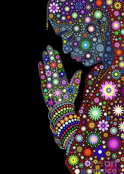 Flower Greeting Card featuring the digital art Flower Prayer Girl by Tim Gainey