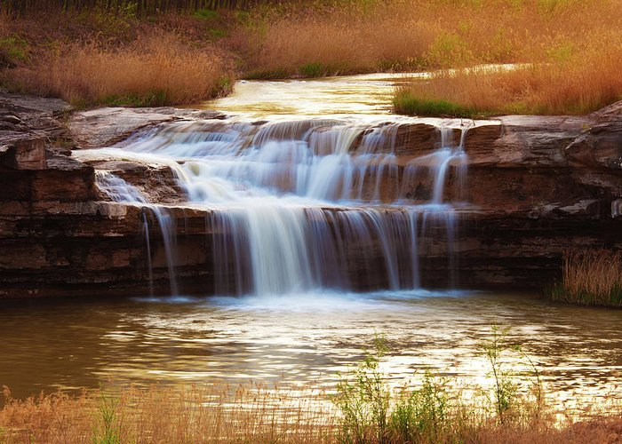 Scenics Greeting Card featuring the photograph Flowing Water On The Yellow Rock by Xenotar