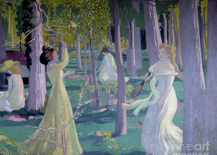 Girl Greeting Card featuring the painting Flying Game, Detail, Two Women In A Garden Play A Game by Maurice Denis