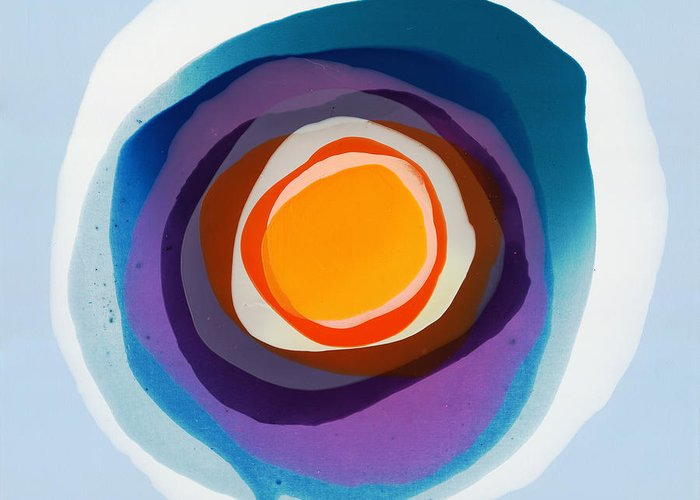 Abstract Greeting Card featuring the painting Focussed by Claire Desjardins