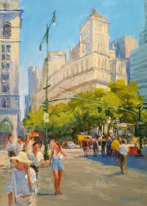New York City Paintings Greeting Card featuring the painting Foot Traffic, Bowling Green by Peter Salwen