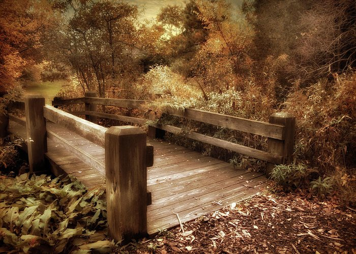Footbridge Greeting Card featuring the photograph Footbridge Crossing by Jessica Jenney