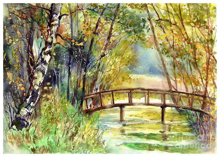 Forgotten Greeting Card featuring the painting Forgotten Bridge by Suzann Sines