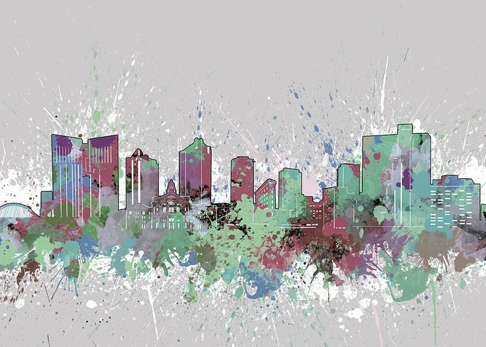 Fort Worth Greeting Card featuring the digital art Fort Worth Skyline Artistic Pastel by Bekim M