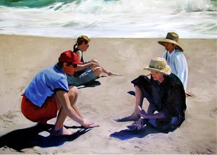 Landscape Greeting Card featuring the painting Four Women on the Beach by Merle Keller