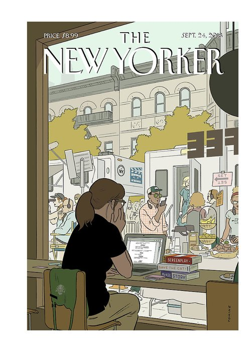 Fourth Wall Greeting Card featuring the painting Fourth Wall by Adrian Tomine