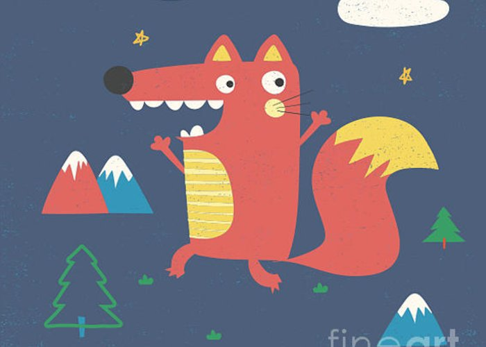 College Greeting Card featuring the digital art Fox Illustration With Slogan For Kids by Mke Design