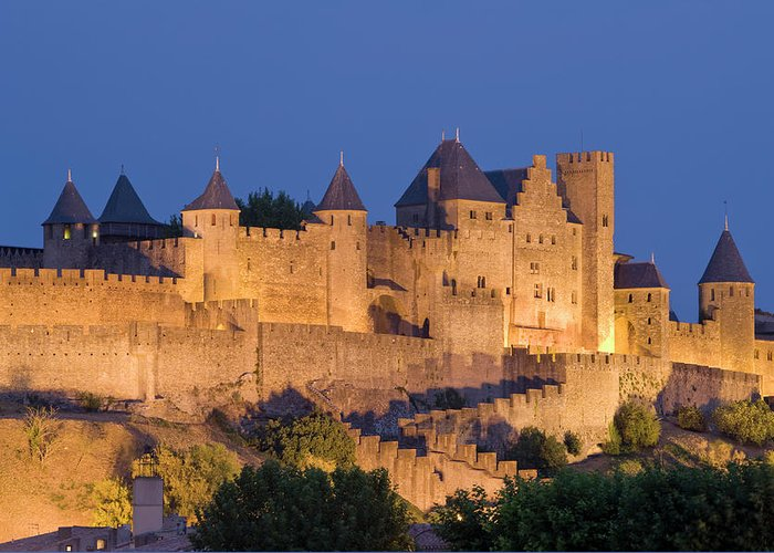 Majestic Greeting Card featuring the photograph France, Languedoc, Carcassonne, Castle by Martin Child