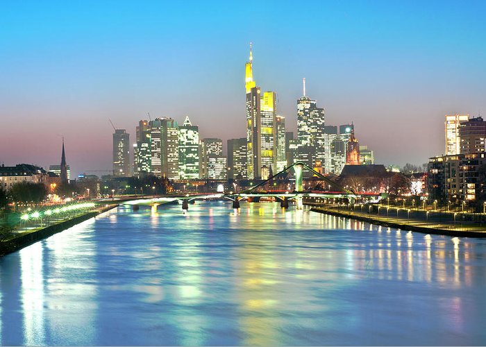 Hesse Greeting Card featuring the photograph Frankfurt Night Skyline by Ixefra