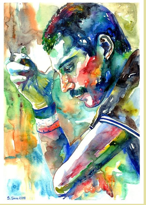 Freddie Mercury Greeting Card featuring the painting Freddie Mercury With Cigarette by Suzann Sines