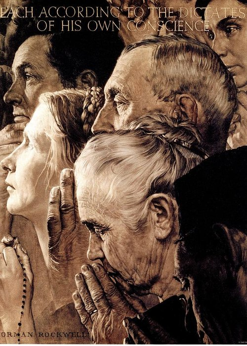 Praying Greeting Card featuring the drawing Freedom Of Worship by Norman Rockwell