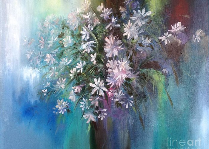 Daisies Greeting Card featuring the painting Fresh from an English Garden by Lizzy Forrester