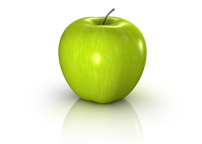 White Background Greeting Card featuring the photograph Fresh Green Apple With Lots Of Vitamins by Artpartner-images