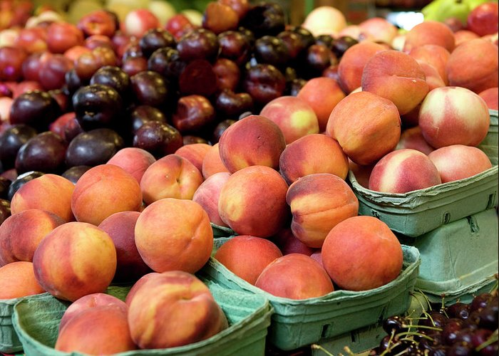 Cherry Greeting Card featuring the photograph Fresh Peaches At Organic Market by Lillisphotography
