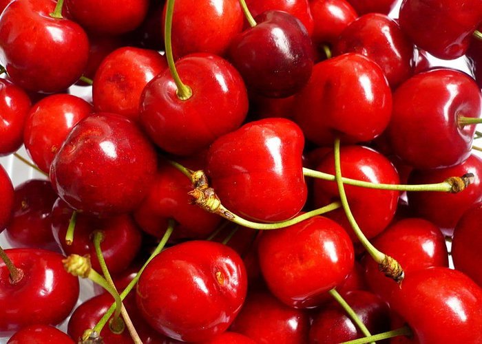 Cherry Greeting Card featuring the photograph Fresh Red Cherries by Vienna Mornings