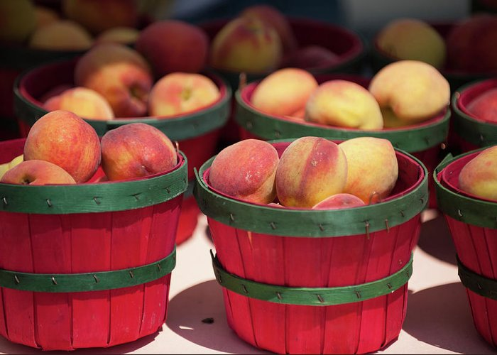 Retail Greeting Card featuring the photograph Fresh Texas Peaches In Colorful Baskets by Txphotoblog - Randy Ennis