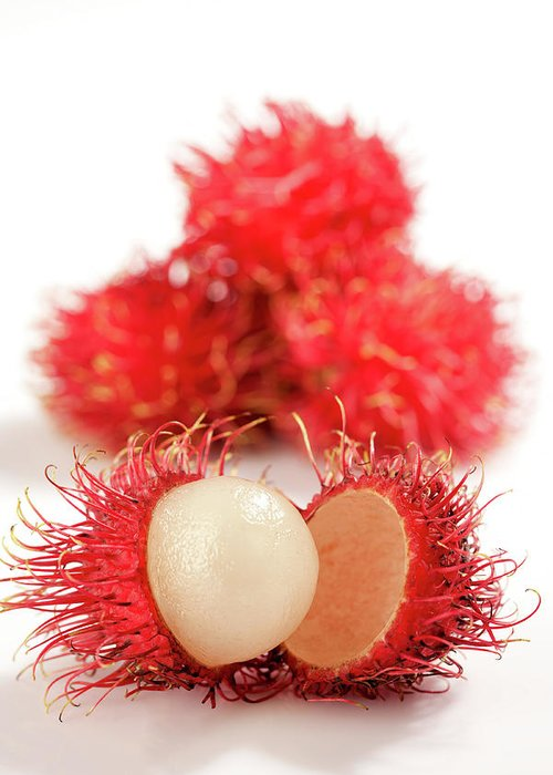 Raw Food Diet Greeting Card featuring the photograph Fresh Thai Rambutans by Enviromantic