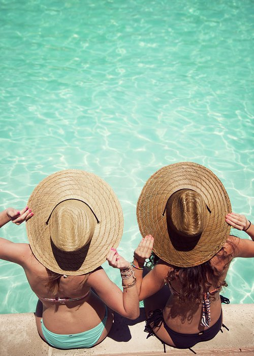 Fedora Greeting Card featuring the photograph Friends By The Pool by Becon