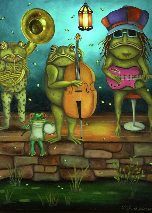 Frog Greeting Card featuring the painting Frog Music by Leah Saulnier The Painting Maniac