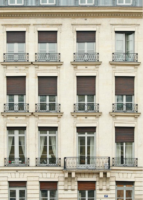 Apartment Greeting Card featuring the photograph Front View Of Paris Architecture by S. Greg Panosian