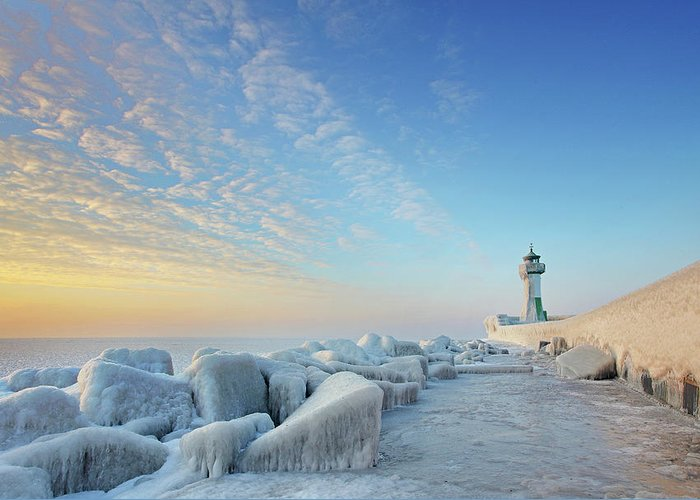 Dawn Greeting Card featuring the photograph Frozen Lighthouse by Sandra Kreuzinger