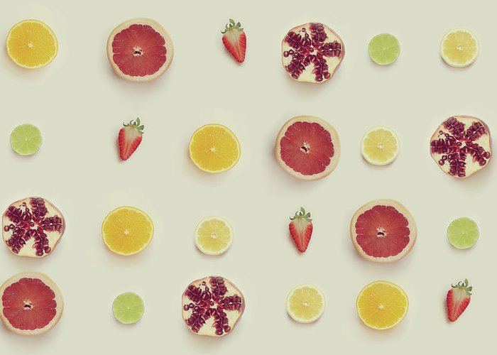 White Background Greeting Card featuring the photograph Fruit Collection by Paula Daniëlse